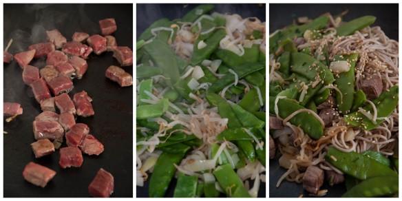 Prépration de boeuf sauté, soba & pois gourmands à la plancha